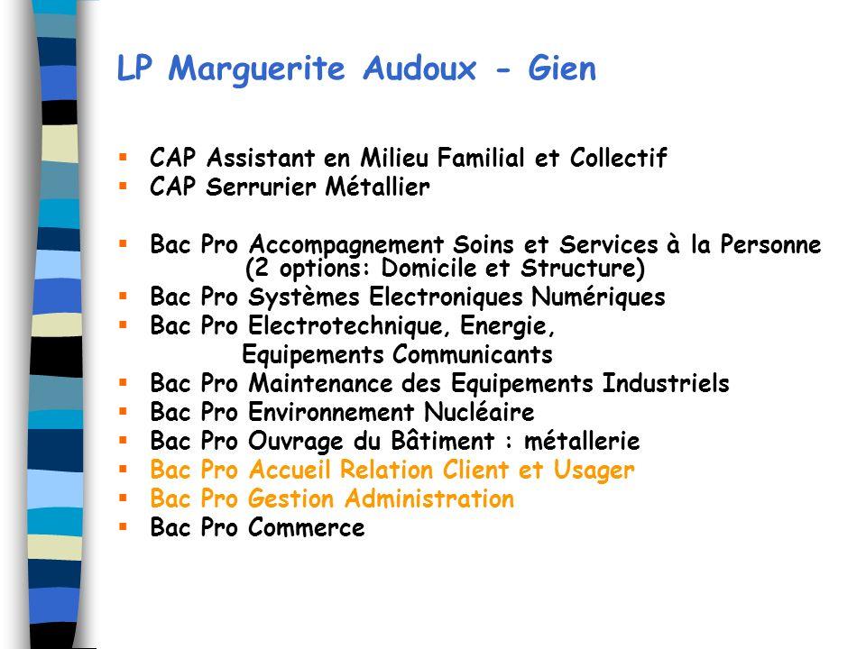 LP Marguerite Audoux - Gien CAP Assistant en Milieu Familial et Collectif CAP Serrurier Métallier Bac Pro Accompagnement Soins et Services à la Person