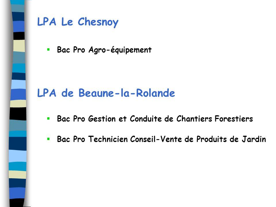LPA Le Chesnoy Bac Pro Agro-équipement LPA de Beaune-la-Rolande Bac Pro Gestion et Conduite de Chantiers Forestiers Bac Pro Technicien Conseil-Vente d