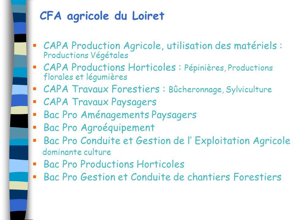 CFA agricole du Loiret CAPA Production Agricole, utilisation des matériels : Productions Végétales CAPA Productions Horticoles : Pépinières, Productio