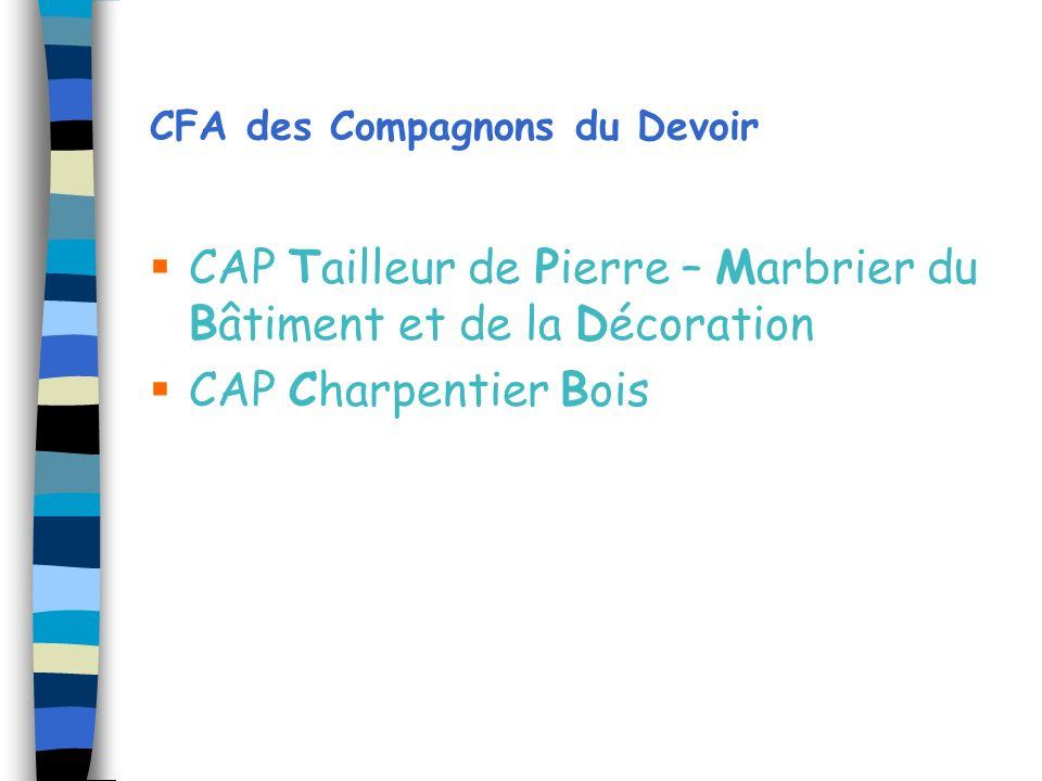 CFA des Compagnons du Devoir CAP Tailleur de Pierre – Marbrier du Bâtiment et de la Décoration CAP Charpentier Bois