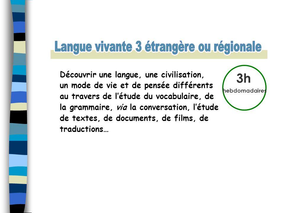 3h hebdomadaires Découvrir une langue, une civilisation, un mode de vie et de pensée différents au travers de létude du vocabulaire, de la grammaire,
