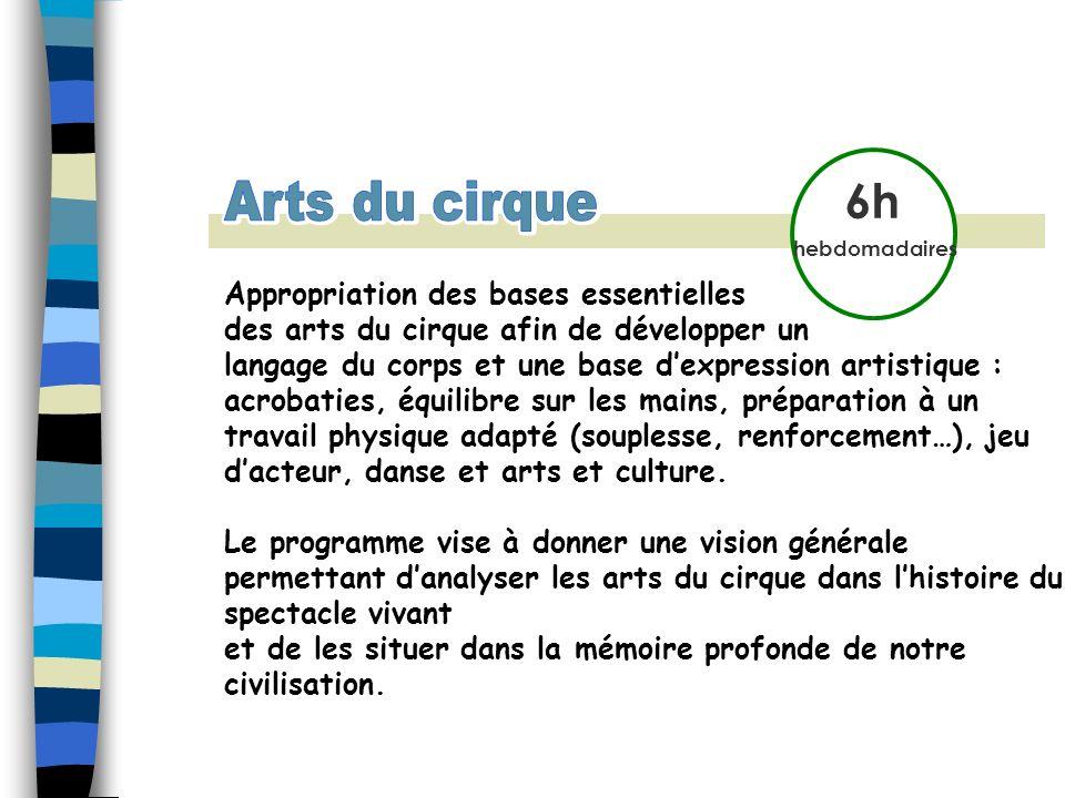6h hebdomadaires Appropriation des bases essentielles des arts du cirque afin de développer un langage du corps et une base dexpression artistique : a