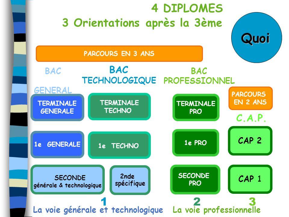 1e PRO 2nde spécifique 123 BAC GENERAL BAC TECHNOLOGIQUE BAC PROFESSIONNEL C.A.P. SECONDE PRO SECONDE générale & technologique TERMINALE PRO CAP 1 CAP
