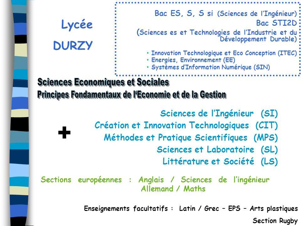 Lycée DURZY Enseignements facultatifs : Latin / Grec – EPS – Arts plastiques Section Rugby Sections européennes : Anglais / Sciences de lingénieur All