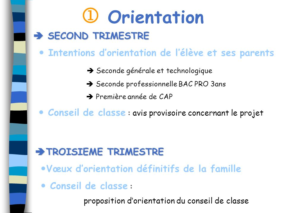 Orientation SECOND TRIMESTRE SECOND TRIMESTRE Intentions dorientation de lélève et ses parents Seconde générale et technologique Seconde professionnel
