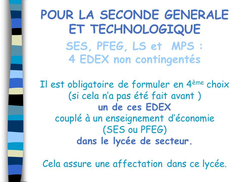 POUR LA SECONDE GENERALE ET TECHNOLOGIQUE SES, PFEG, LS et MPS : 4 EDEX non contingentés Il est obligatoire de formuler en 4 ème choix (si cela na pas
