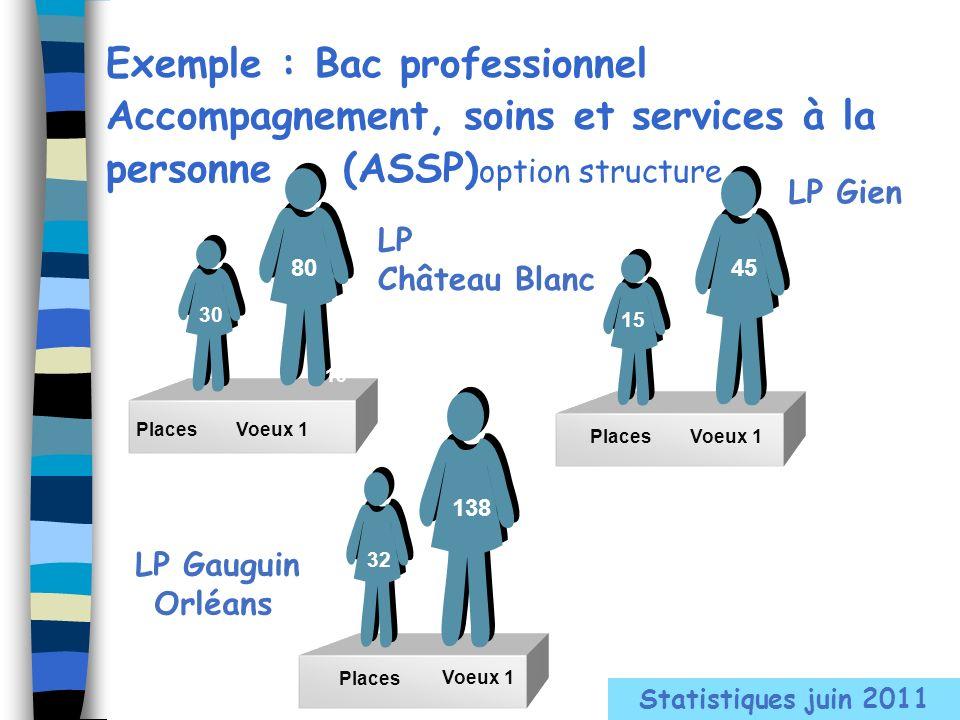 LP Château Blanc PlacesVoeux 1 Exemple : Bac professionnel Accompagnement, soins et services à la personne (ASSP) option structure 80 30 15 LP Gien Pl