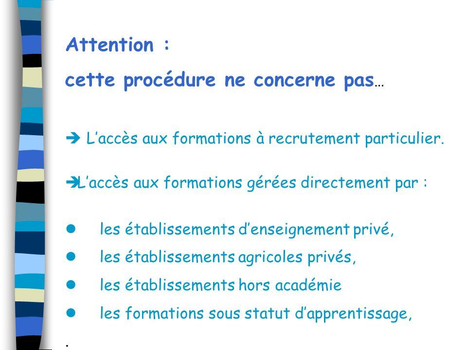 Attention : cette procédure ne concerne pas … Laccès aux formations à recrutement particulier. Laccès aux formations gérées directement par : les étab