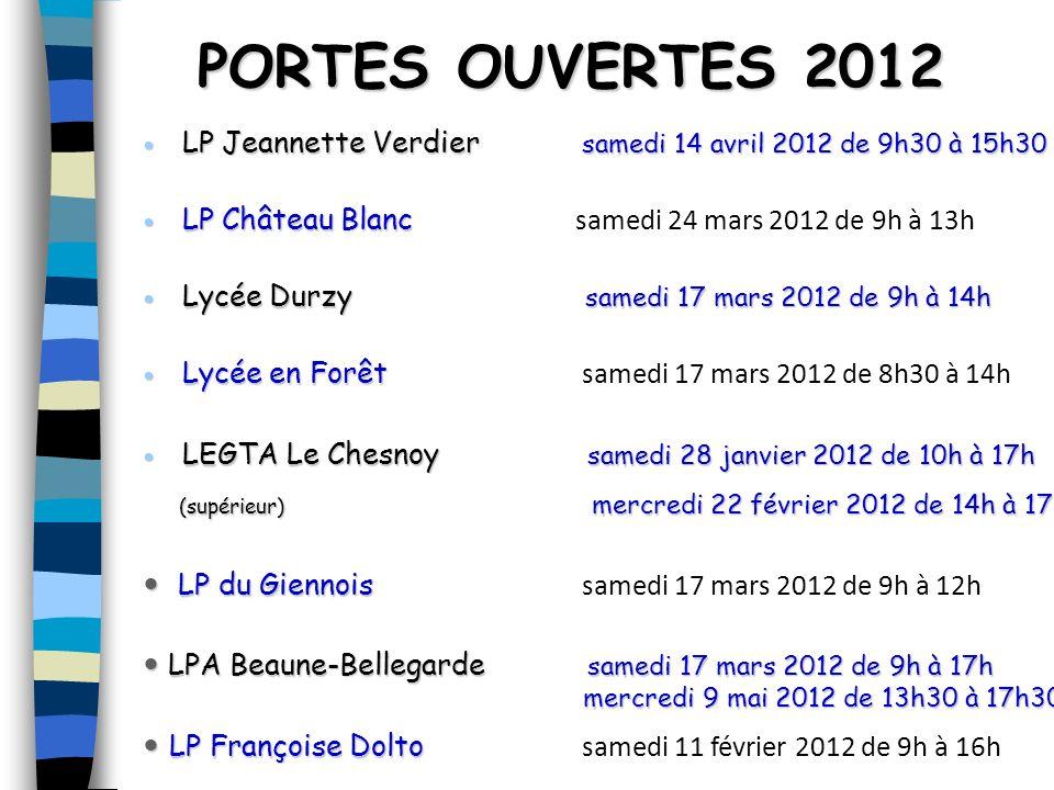 PORTES OUVERTES 2012 LP Jeannette Verdier samedi 14 avril 2012 de 9h30 à 15h30 LP Jeannette Verdier samedi 14 avril 2012 de 9h30 à 15h30 LP Château Bl
