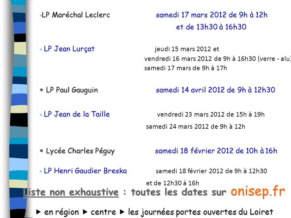 LP Maréchal Leclercsamedi 17 mars 2012 de 9h à 12h LP Maréchal Leclercsamedi 17 mars 2012 de 9h à 12h et de 13h30 à 16h30 et de 13h30 à 16h30 LP Jean