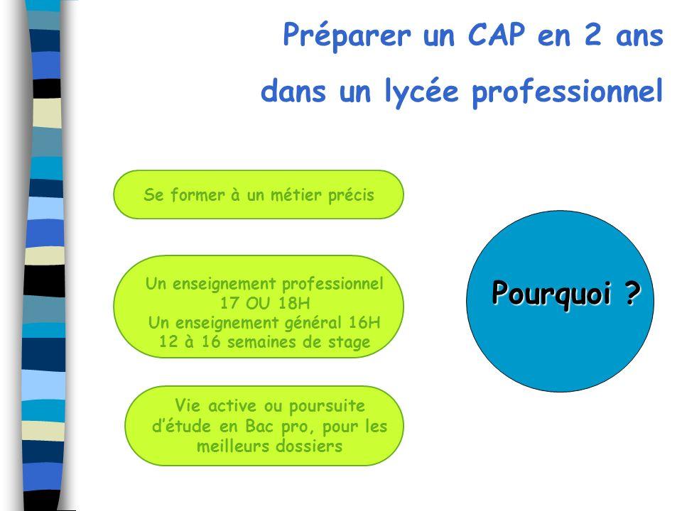 Préparer un CAP en 2 ans dans un lycée professionnel Vie active ou poursuite détude en Bac pro, pour les meilleurs dossiers Un enseignement profession
