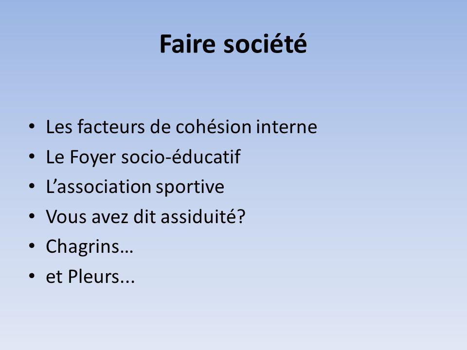 Faire société Les facteurs de cohésion interne Le Foyer socio-éducatif Lassociation sportive Vous avez dit assiduité.