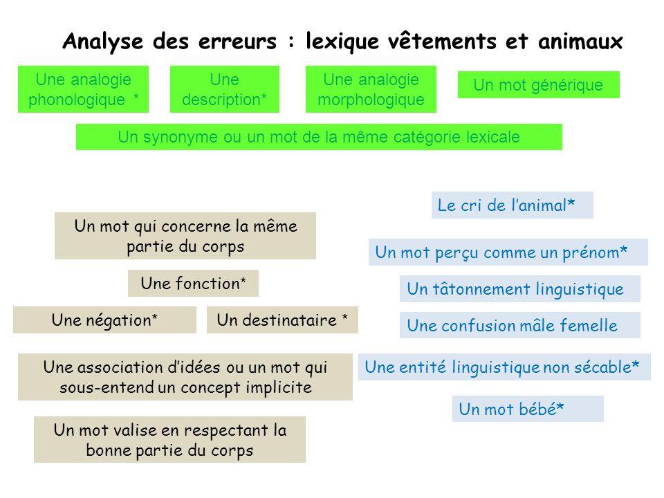 Analyse des erreurs : lexique vêtements et animaux Une fonction * Une description* Une analogie morphologique Un mot qui concerne la même partie du co