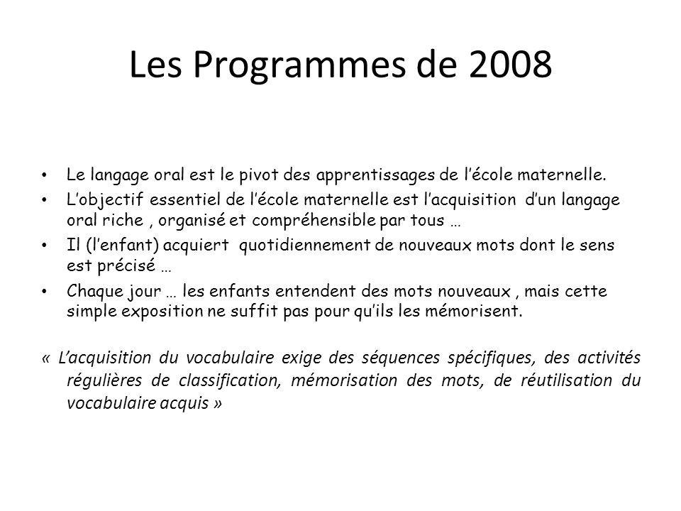 Les Programmes de 2008 Le langage oral est le pivot des apprentissages de lécole maternelle. Lobjectif essentiel de lécole maternelle est lacquisition