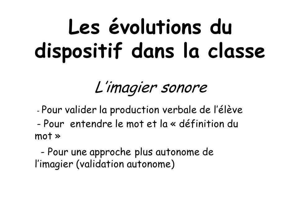 Les évolutions du dispositif dans la classe Limagier sonore - Pour valider la production verbale de lélève - Pour entendre le mot et la « définition d