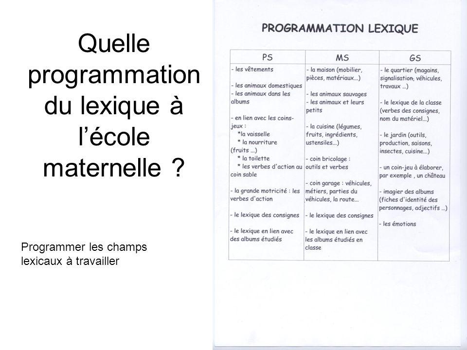 Quelle programmation du lexique à lécole maternelle ? Programmer les champs lexicaux à travailler