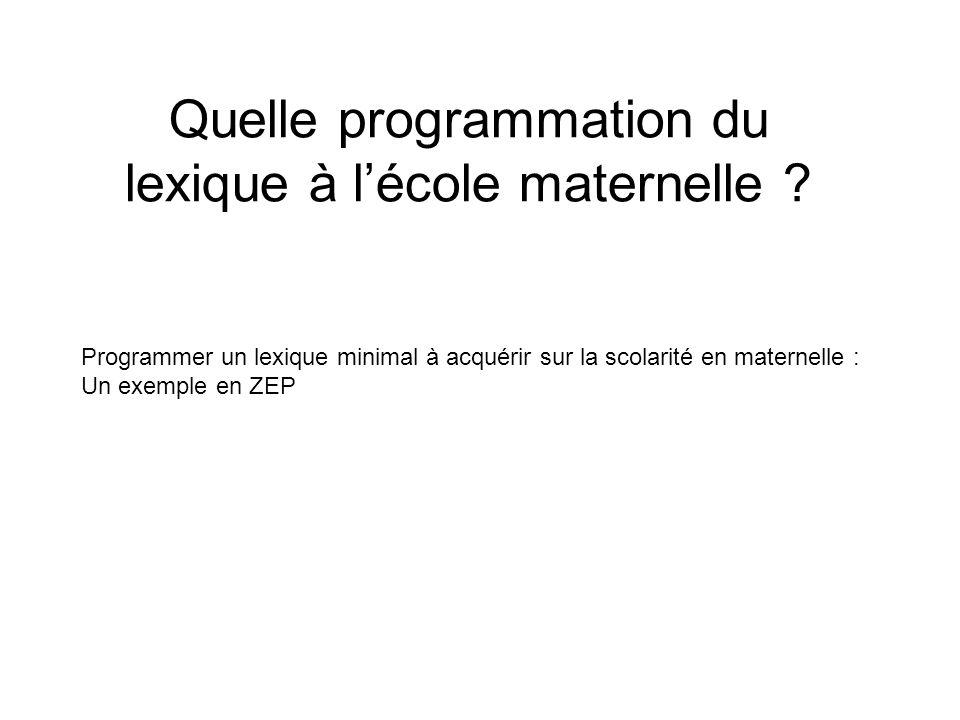 Quelle programmation du lexique à lécole maternelle ? Programmer un lexique minimal à acquérir sur la scolarité en maternelle : Un exemple en ZEP