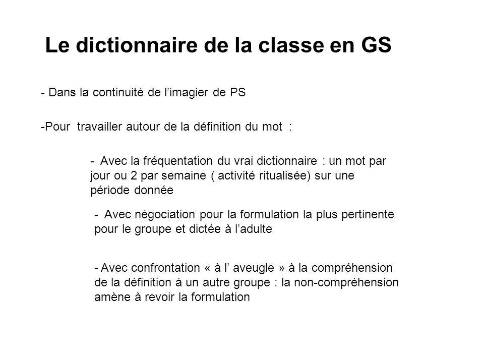 Le dictionnaire de la classe en GS - Dans la continuité de limagier de PS -Pour travailler autour de la définition du mot : - Avec négociation pour la