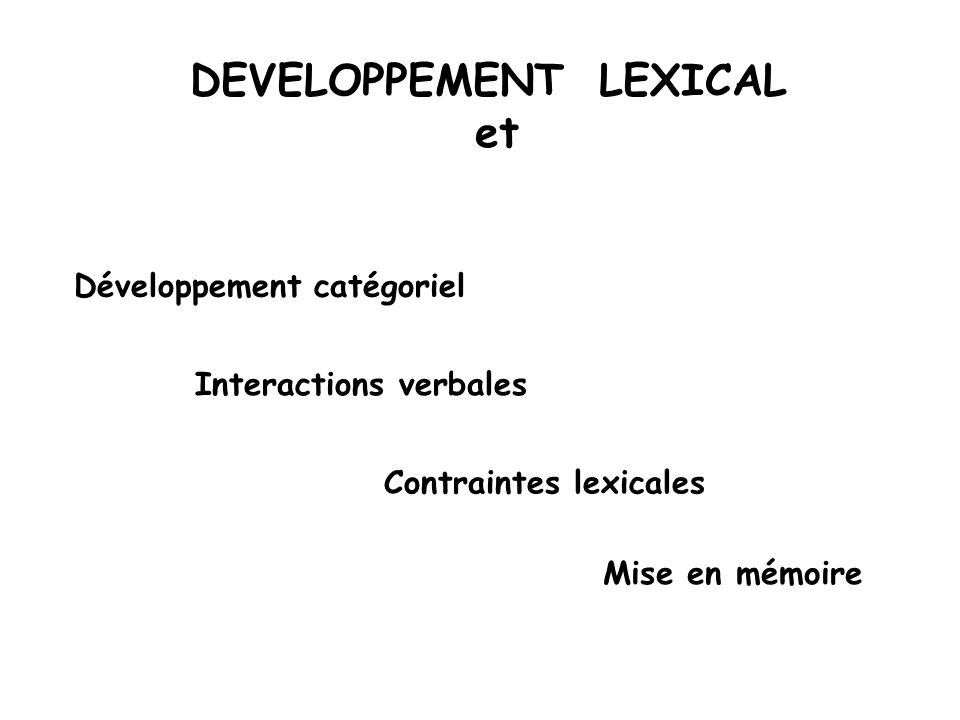 DEVELOPPEMENT LEXICAL et Développement catégoriel Contraintes lexicales Interactions verbales Mise en mémoire