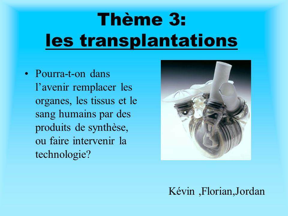 Thème 3: les transplantations Pourra-t-on dans lavenir remplacer les organes, les tissus et le sang humains par des produits de synthèse, ou faire intervenir la technologie.