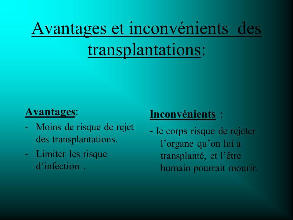 Avantages et inconvénients des transplantations: Avantages: -Moins de risque de rejet des transplantations.