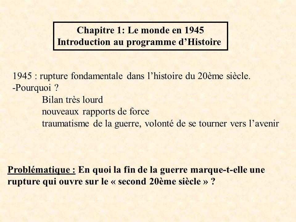 Chapitre 1: Le monde en 1945 Introduction au programme dHistoire 1945 : rupture fondamentale dans lhistoire du 20ème siècle. -Pourquoi ? Bilan très lo