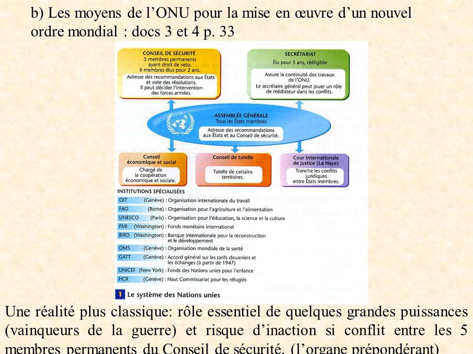 b) Les moyens de lONU pour la mise en œuvre dun nouvel ordre mondial : docs 3 et 4 p. 33 Une réalité plus classique: rôle essentiel de quelques grande