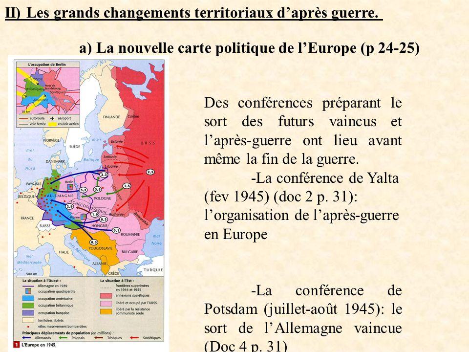 II) Les grands changements territoriaux daprès guerre. a) La nouvelle carte politique de lEurope (p 24-25) Des conférences préparant le sort des futur