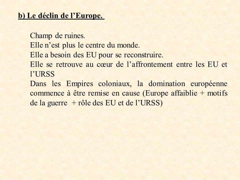 b) Le déclin de lEurope. Champ de ruines. Elle nest plus le centre du monde. Elle a besoin des EU pour se reconstruire. Elle se retrouve au cœur de la