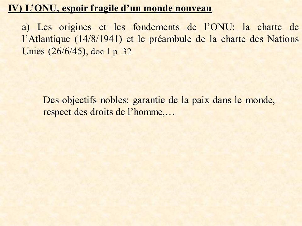 IV) LONU, espoir fragile dun monde nouveau a) Les origines et les fondements de lONU: la charte de lAtlantique (14/8/1941) et le préambule de la chart