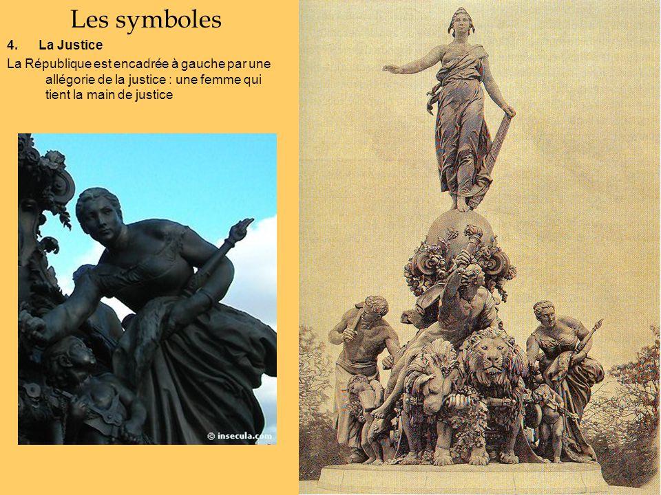 Les symboles 4. La Justice La République est encadrée à gauche par une allégorie de la justice : une femme qui tient la main de justice