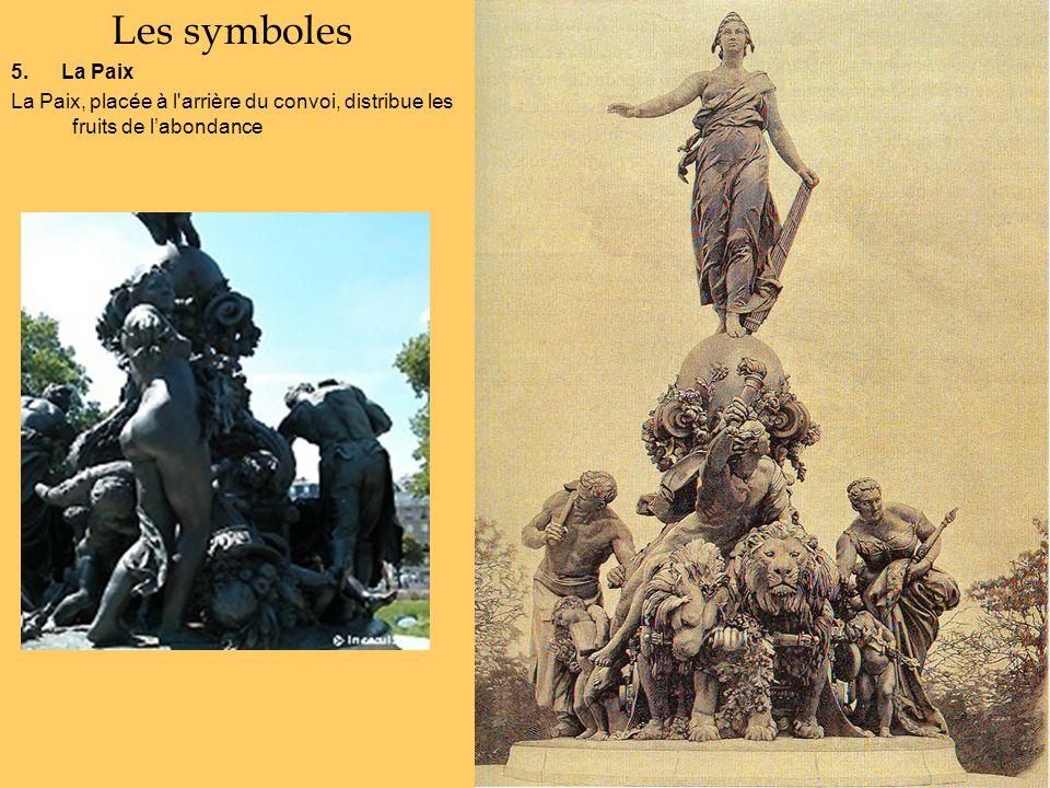 Les symboles 5. La Paix La Paix, placée à l'arrière du convoi, distribue les fruits de labondance