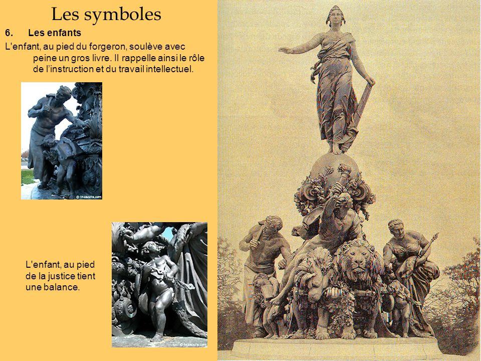 Les symboles 6. Les enfants L'enfant, au pied du forgeron, soulève avec peine un gros livre. Il rappelle ainsi le rôle de linstruction et du travail i