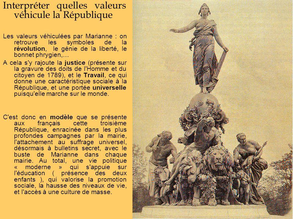 Interpréter quelles valeurs véhicule la République Les valeurs véhiculées par Marianne : on retrouve les symboles de la révolution, le génie de la lib