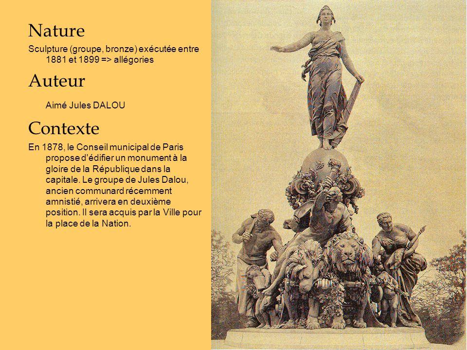 Nature Sculpture (groupe, bronze) exécutée entre 1881 et 1899 => allégories Auteur Aimé Jules DALOU Contexte En 1878, le Conseil municipal de Paris pr