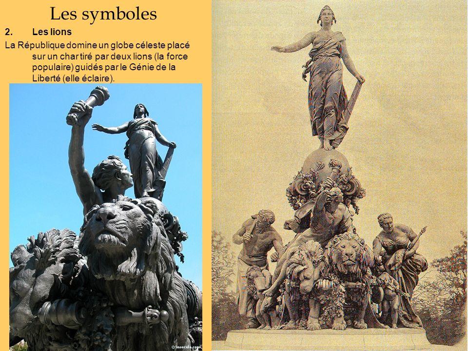 Les symboles 2.Les lions La République domine un globe céleste placé sur un char tiré par deux lions (la force populaire) guidés par le Génie de la Li