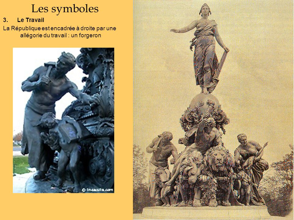 Les symboles 3. Le Travail La République est encadrée à droite par une allégorie du travail : un forgeron