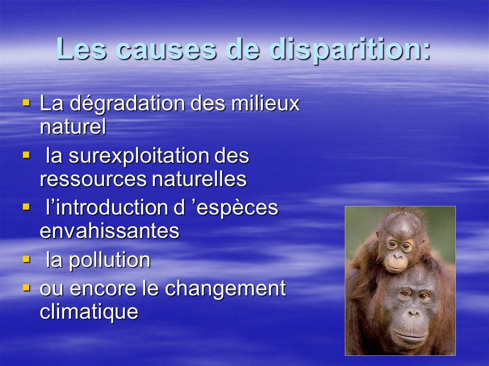 Les causes de disparition: La dégradation des milieux naturel La dégradation des milieux naturel la surexploitation des ressources naturelles la surex