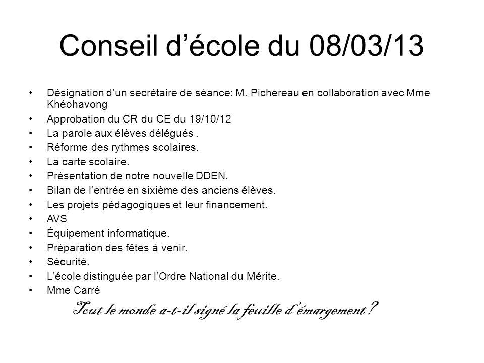 Conseil décole du 08/03/13 Désignation dun secrétaire de séance: M.