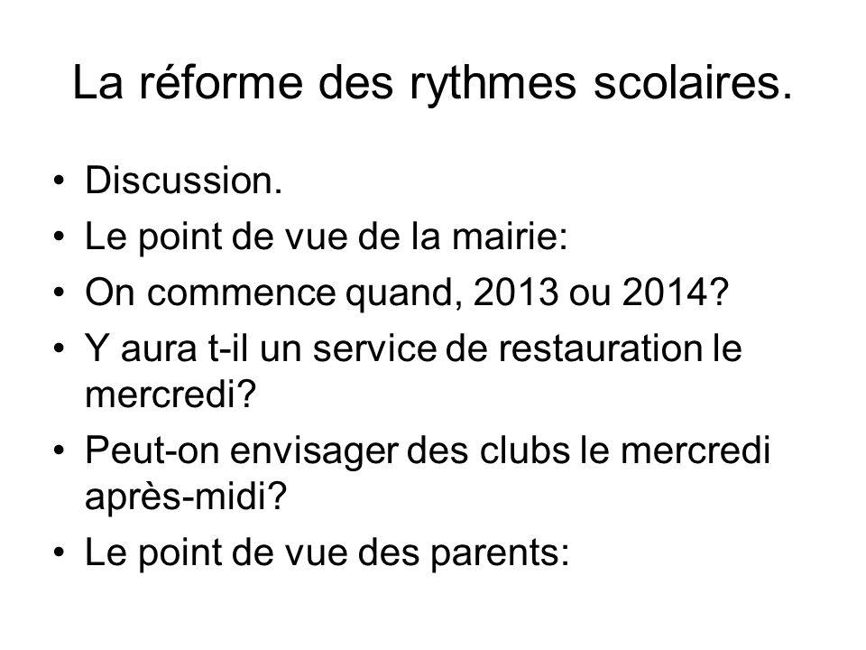 La réforme des rythmes scolaires. Discussion.