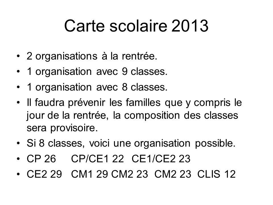 Carte scolaire 2013 2 organisations à la rentrée. 1 organisation avec 9 classes.