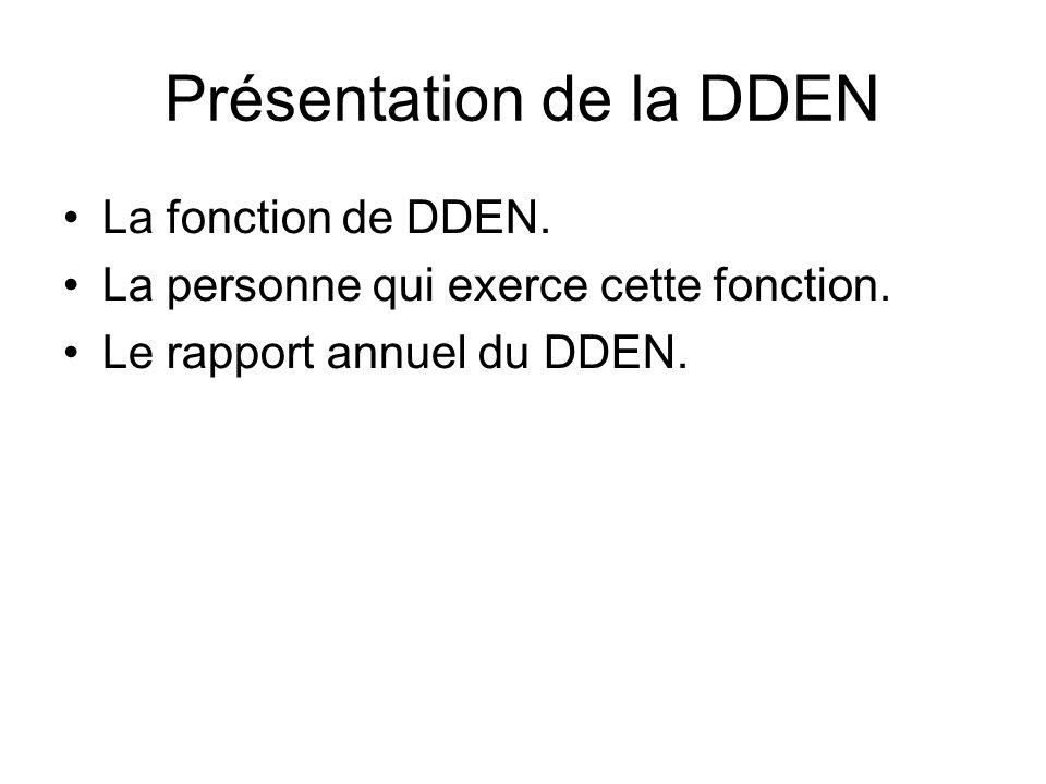 Présentation de la DDEN La fonction de DDEN. La personne qui exerce cette fonction.