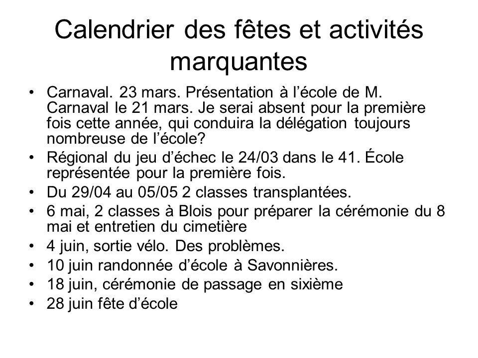 Calendrier des fêtes et activités marquantes Carnaval.