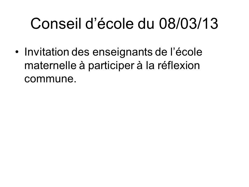Conseil décole du 08/03/13 Invitation des enseignants de lécole maternelle à participer à la réflexion commune.