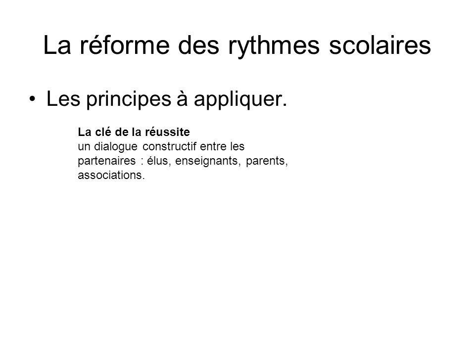 La réforme des rythmes scolaires Les principes à appliquer.