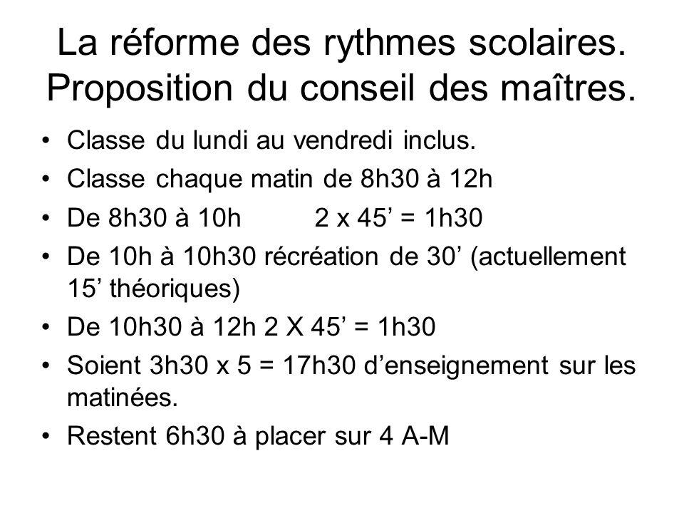 La réforme des rythmes scolaires. Proposition du conseil des maîtres.