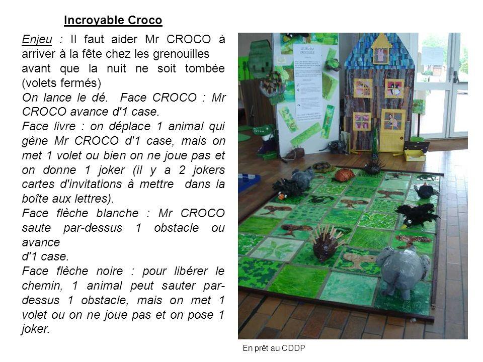 Enjeu : Il faut aider Mr CROCO à arriver à la fête chez les grenouilles avant que la nuit ne soit tombée (volets fermés) On lance le dé. Face CROCO :