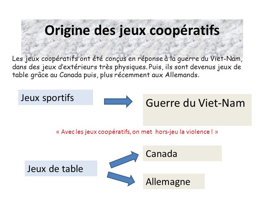 Origine des jeux coopératifs Guerre du Viet-Nam Jeux sportifs Jeux de table Canada Allemagne « Avec les jeux coopératifs, on met hors-jeu la violence