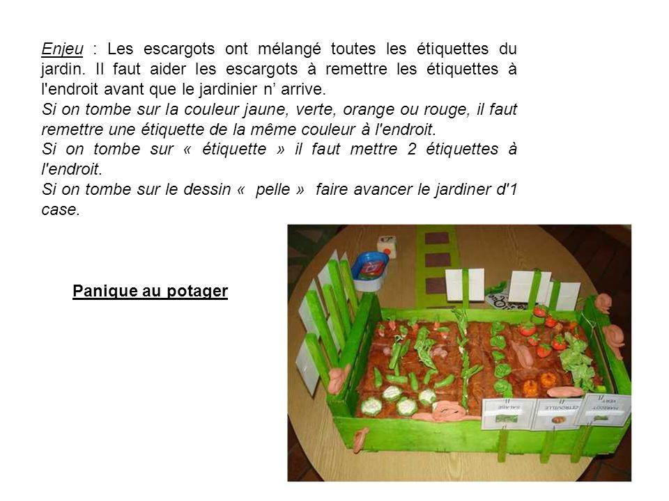 Enjeu : Les escargots ont mélangé toutes les étiquettes du jardin. Il faut aider les escargots à remettre les étiquettes à l'endroit avant que le jard