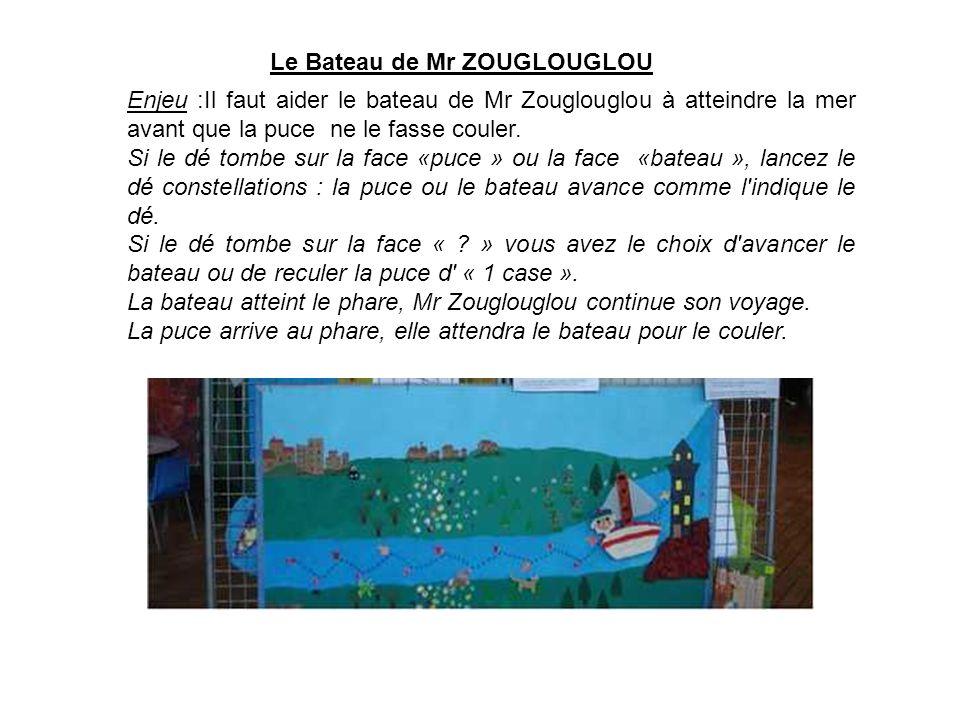 Enjeu :Il faut aider le bateau de Mr Zouglouglou à atteindre la mer avant que la puce ne le fasse couler. Si le dé tombe sur la face «puce » ou la fac